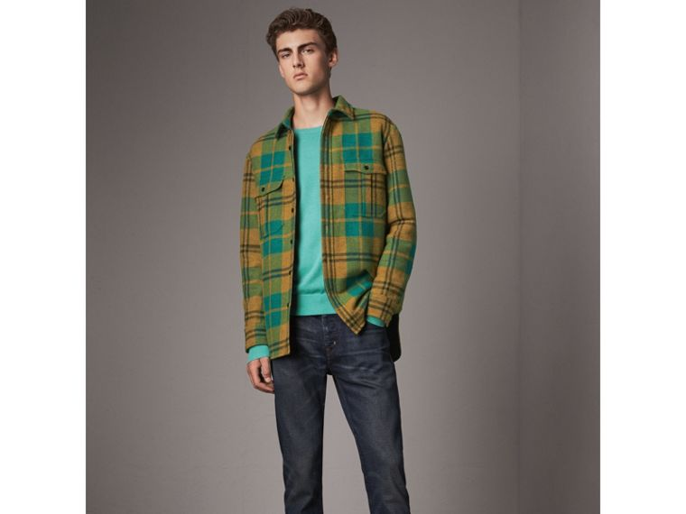 Lightweight Crew Neck Cashmere Sweater with Check Trim in Pale Jade - Men | Burberry - cell image 4