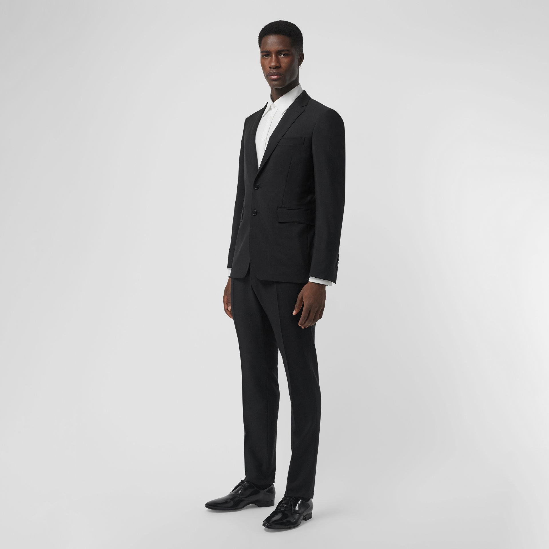 Wool Mohair Tailored Trousers in Black - Men | Burberry United Kingdom - gallery image 0
