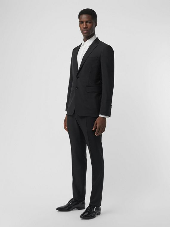Wool Mohair Tailored Trousers in Black