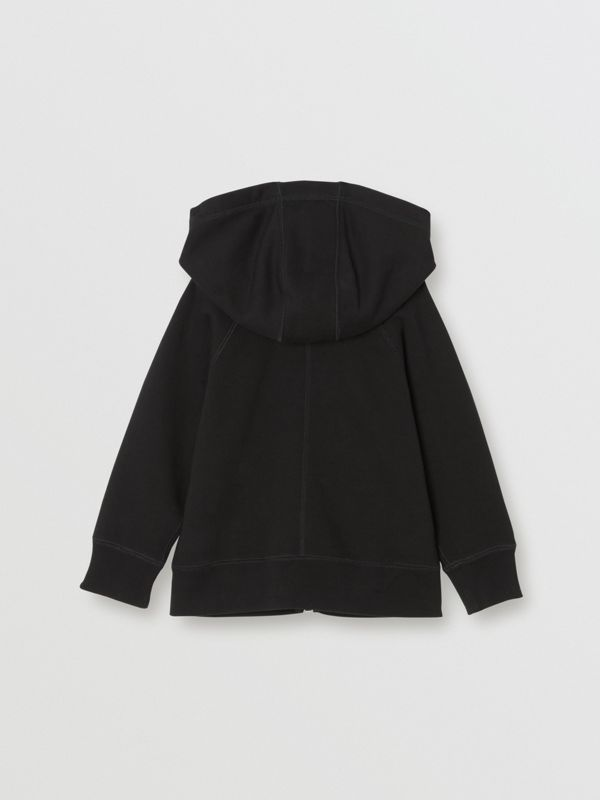 Cotton Jersey Hooded Top in Black | Burberry United Kingdom - cell image 3