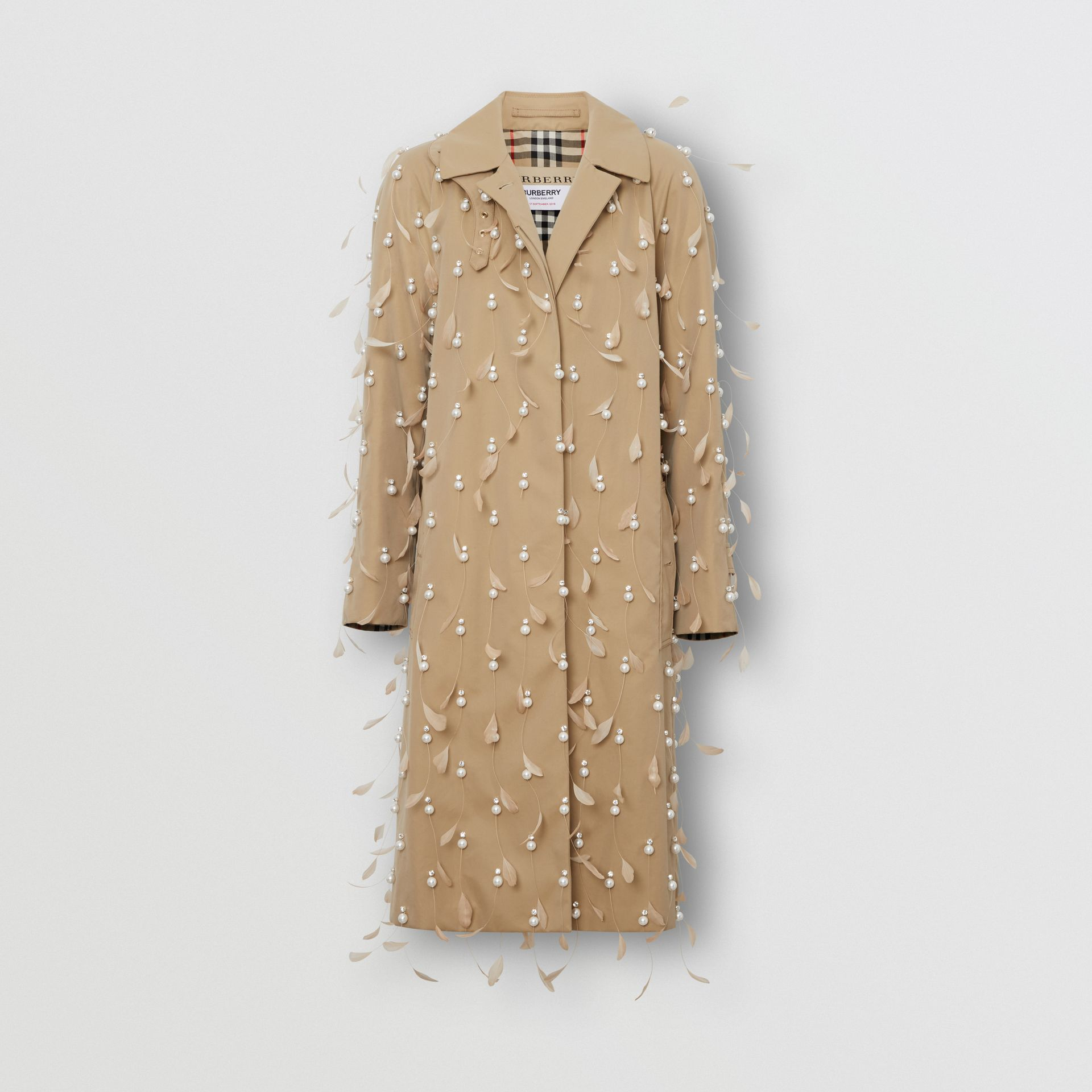 Embellished Cotton Gabardine Car Coat in Pale Honey - Women | Burberry United Kingdom - gallery image 3