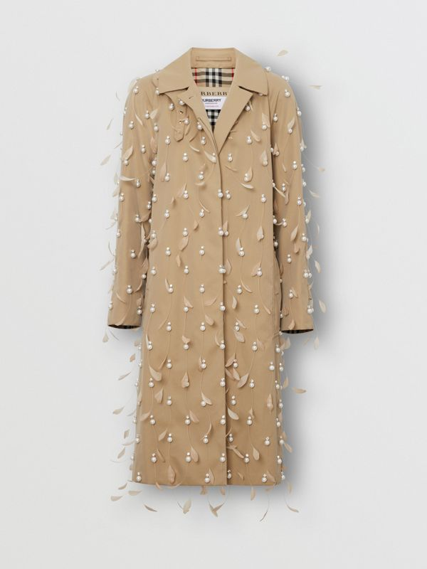 Embellished Cotton Gabardine Car Coat in Pale Honey - Women | Burberry United Kingdom - cell image 3