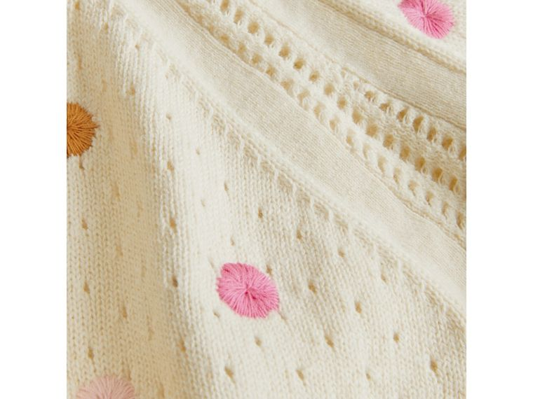 Embroidered Cotton Cashmere Cardigan in Natural White - Girl | Burberry - cell image 1