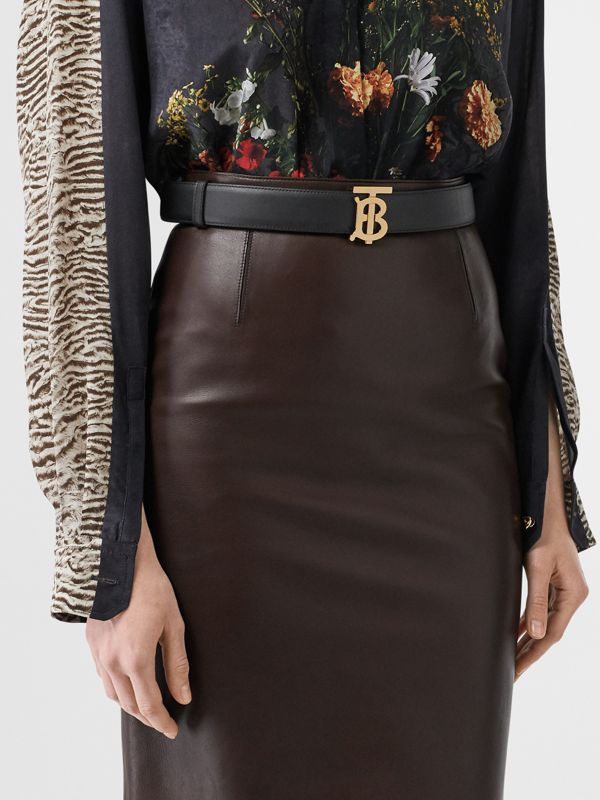 Reversible Monogram Motif Leather Belt in Black/malt Brown - Women | Burberry Canada - cell image 2