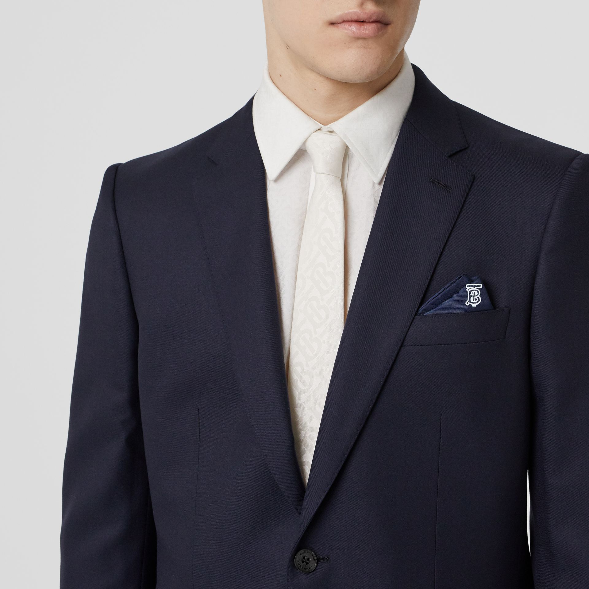 Monogram Motif Silk Pocket Square in Navy Blue - Men | Burberry - gallery image 2