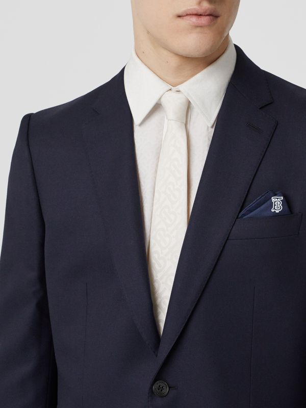 Monogram Motif Silk Pocket Square in Navy Blue - Men | Burberry - cell image 2
