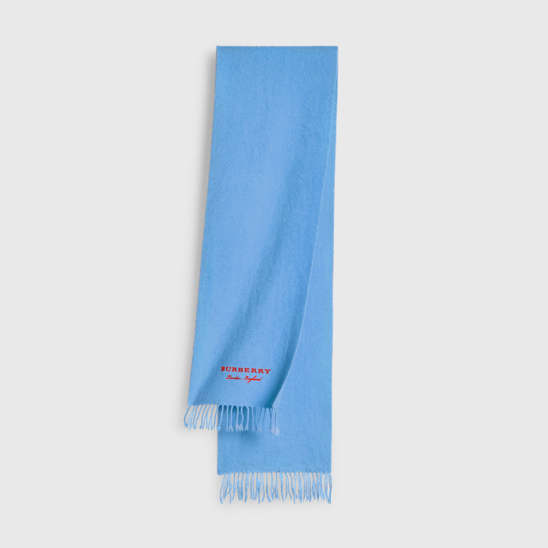 Embroidered Cashmere Fleece Scarf in Blue Topaz | Burberry United Kingdom - gallery image 0