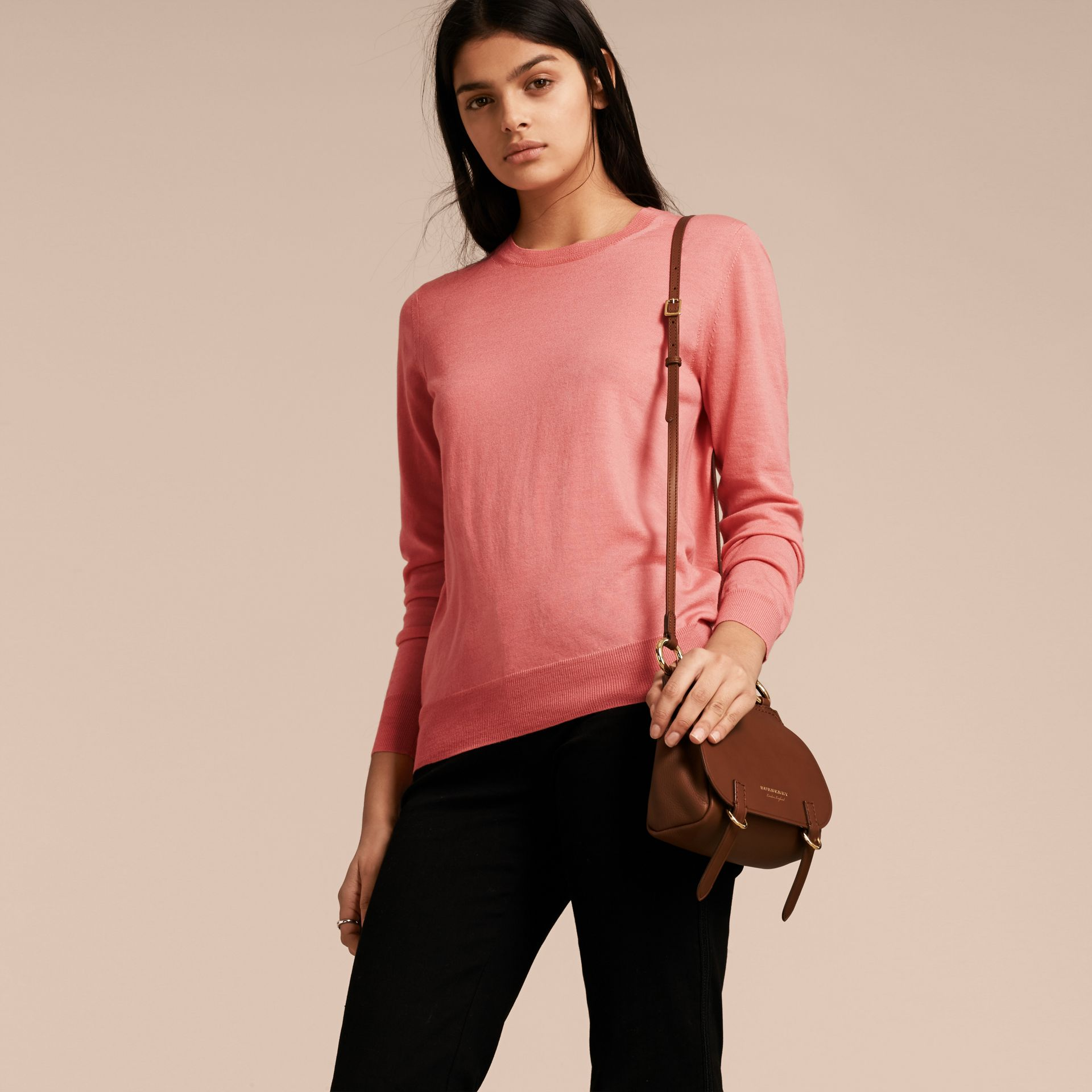 Check Detail Merino Wool Crew Neck Sweater in Pale Rose Pink - Women | Burberry - gallery image 6
