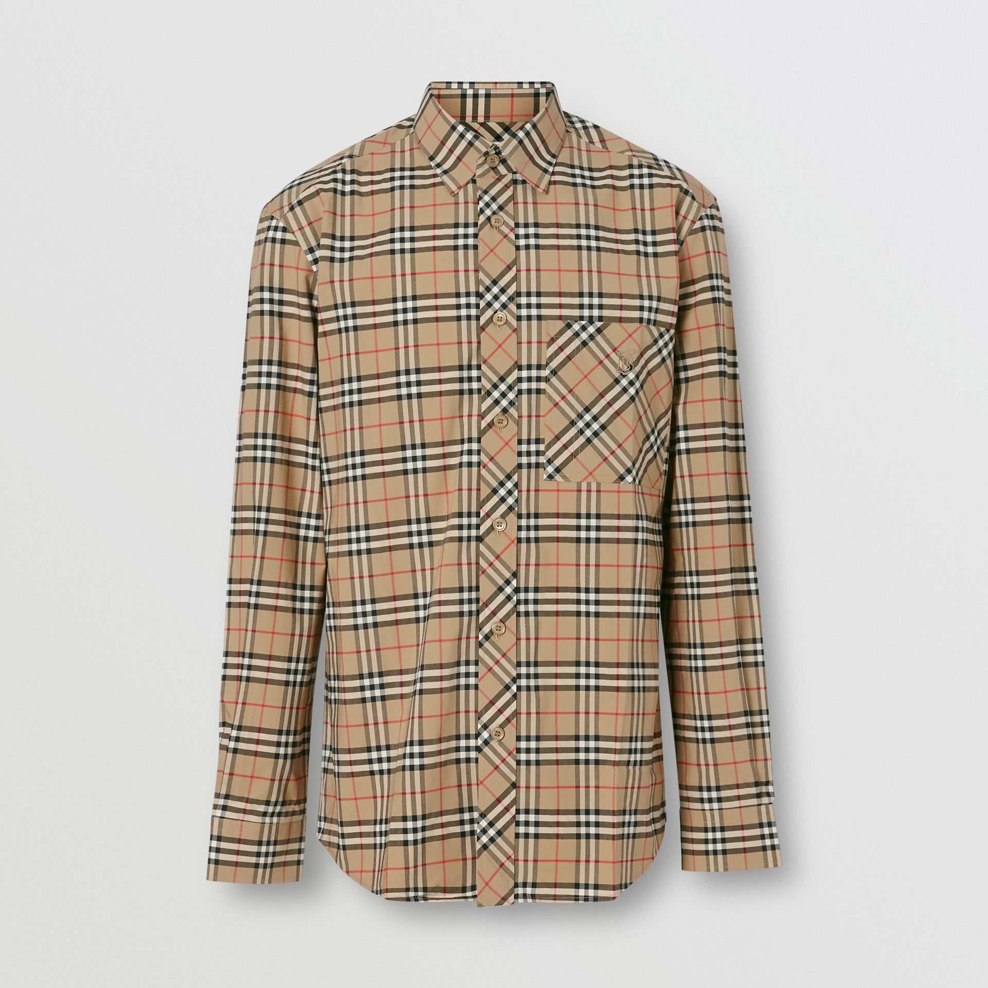 Small Scale Check Stretch Cotton Shirt in Archive Beige - Men | Burberry Australia - gallery image 3