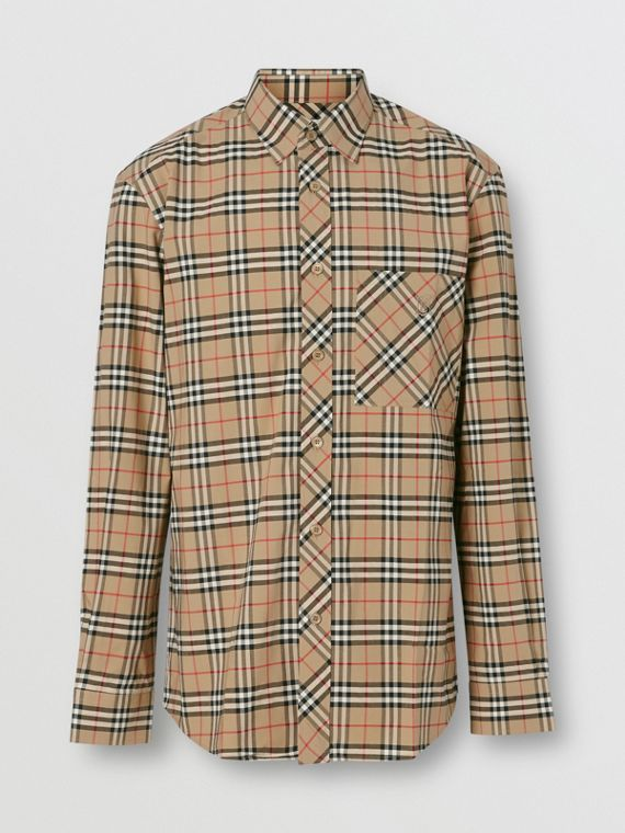 Small Scale Check Stretch Cotton Shirt in Archive Beige