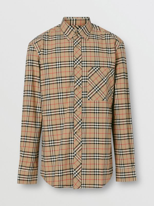 Small Scale Check Stretch Cotton Shirt in Archive Beige - Men | Burberry - cell image 3