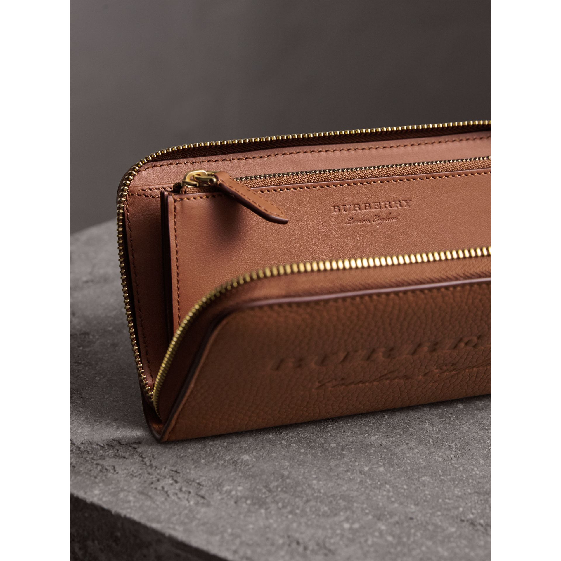 Embossed Leather Ziparound Wallet in Chestnut Brown - Women | Burberry - gallery image 3