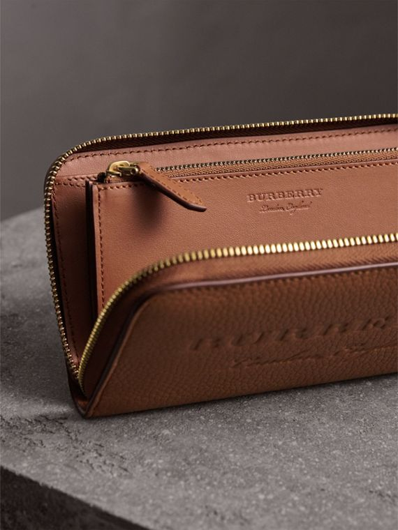 Embossed Leather Ziparound Wallet in Chestnut Brown - Women | Burberry - cell image 3