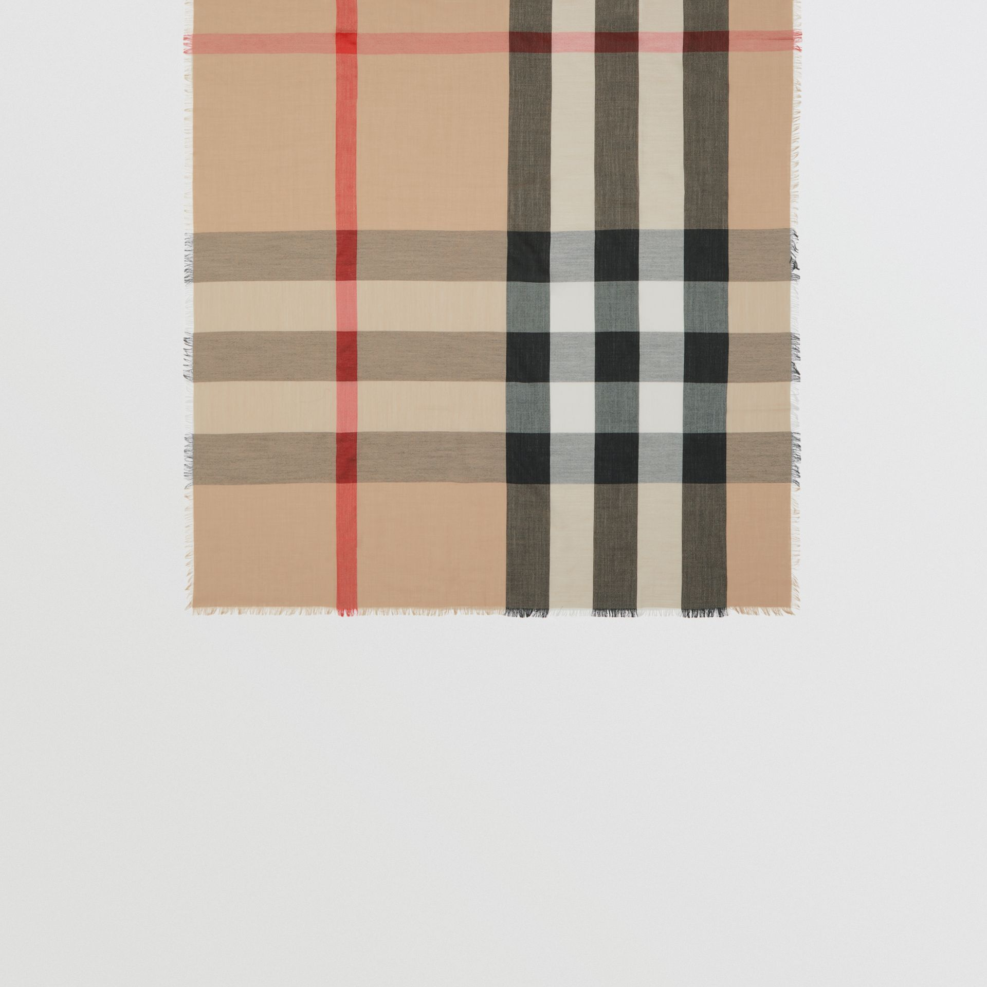Fringed Check Cashmere Scarf in Camel | Burberry - gallery image 3