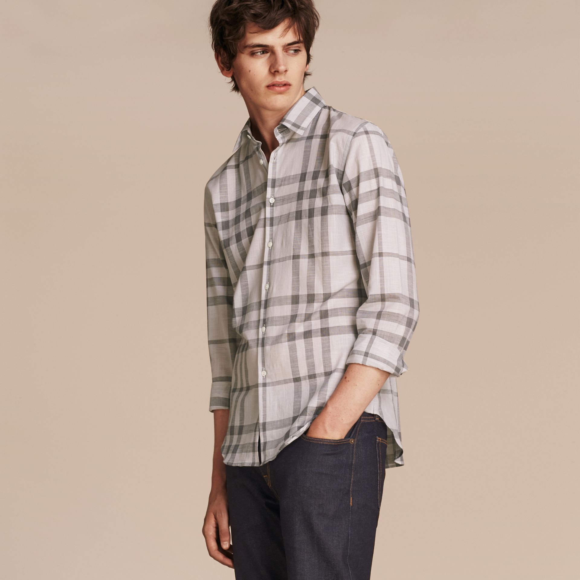 Check Cotton Chambray Shirt Mid Grey - gallery image 6