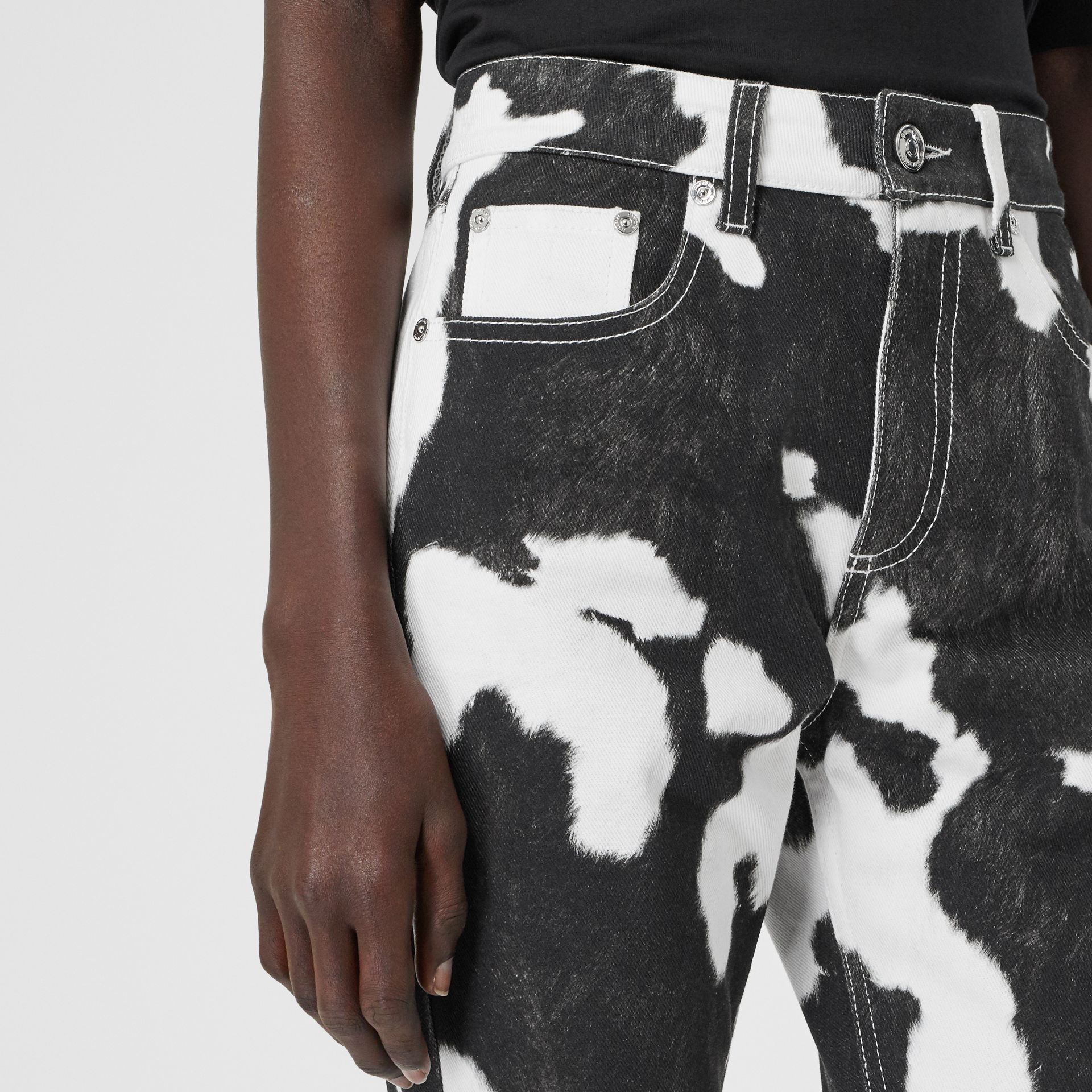 Straight Fit Cow Print Jeans in Black - Women | Burberry Canada - gallery image 4