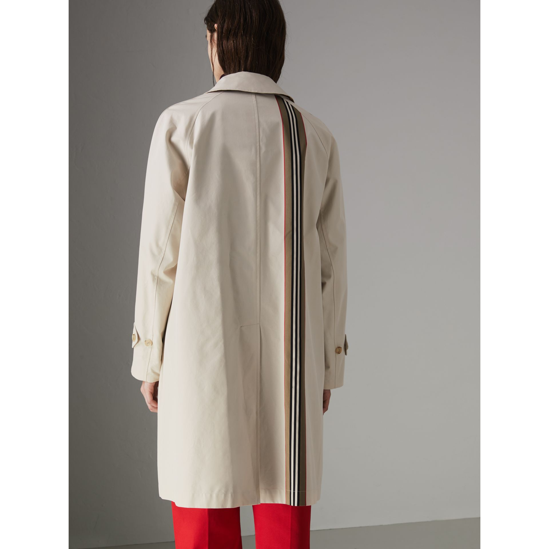 Striped Ribbon Cotton Gabardine Car Coat in Stone - Women | Burberry - gallery image 2