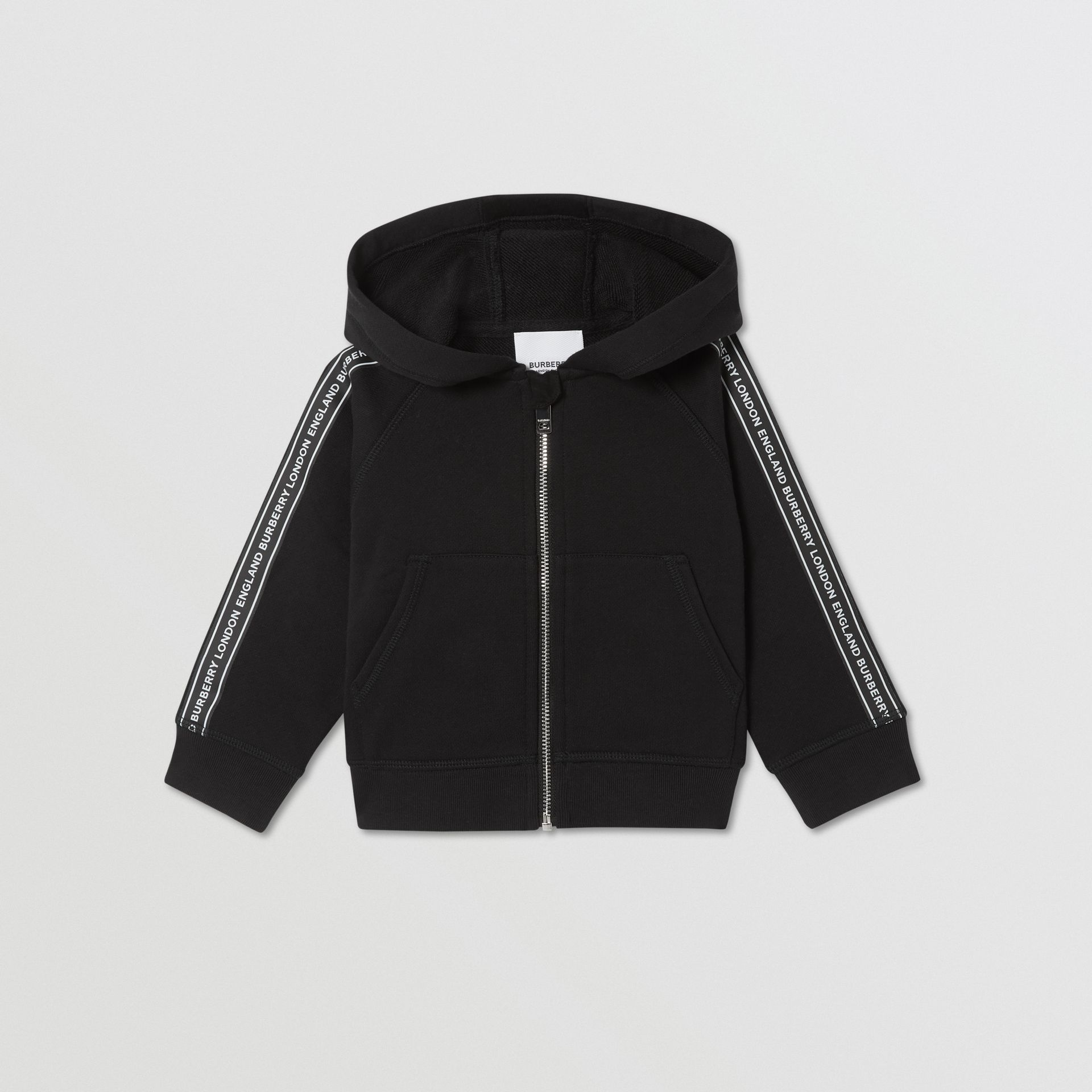 Logo Tape Cotton Hooded Top in Black - Children | Burberry - gallery image 0