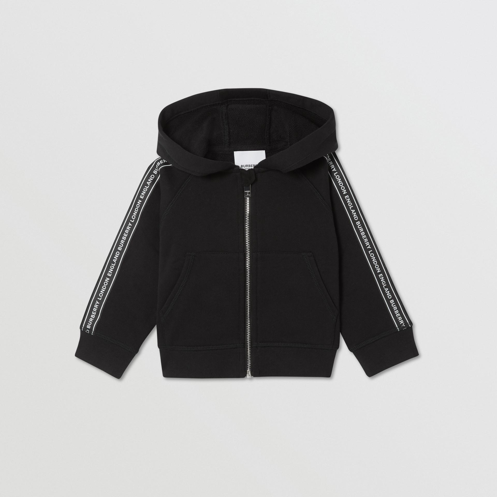 Logo Tape Cotton Hooded Top in Black - Children | Burberry Australia - gallery image 0