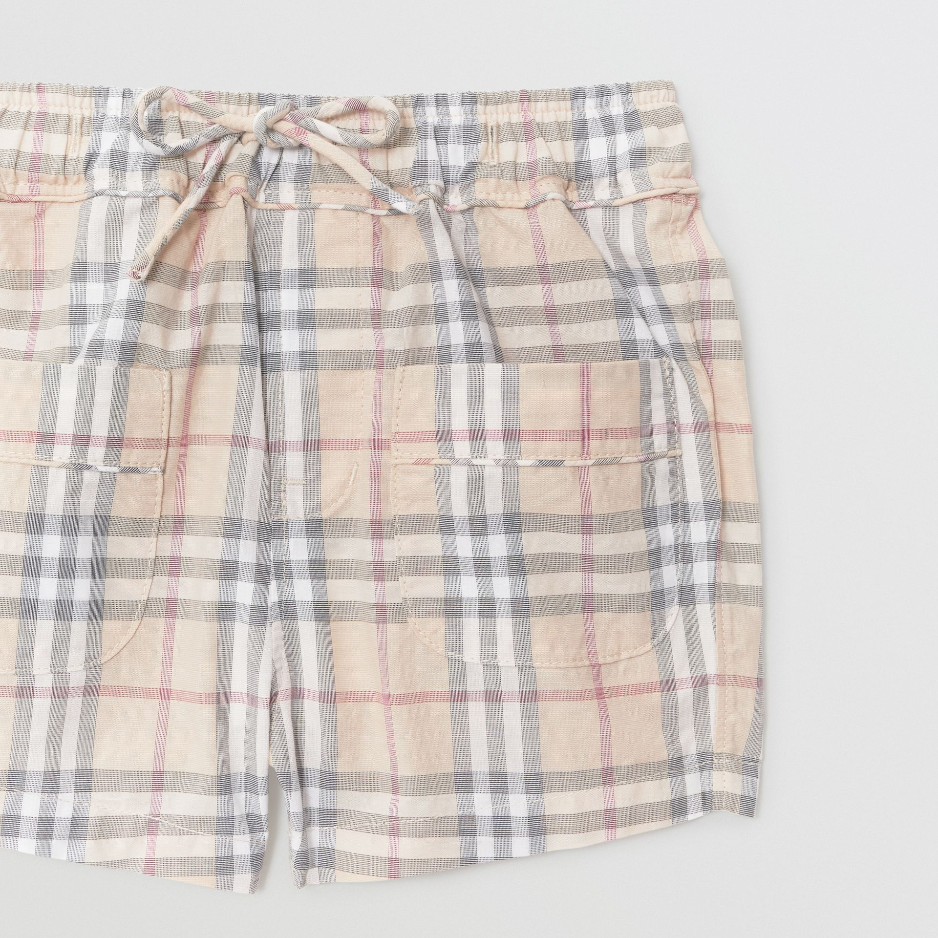 Check Cotton Shorts in Pale Stone - Children | Burberry - gallery image 4