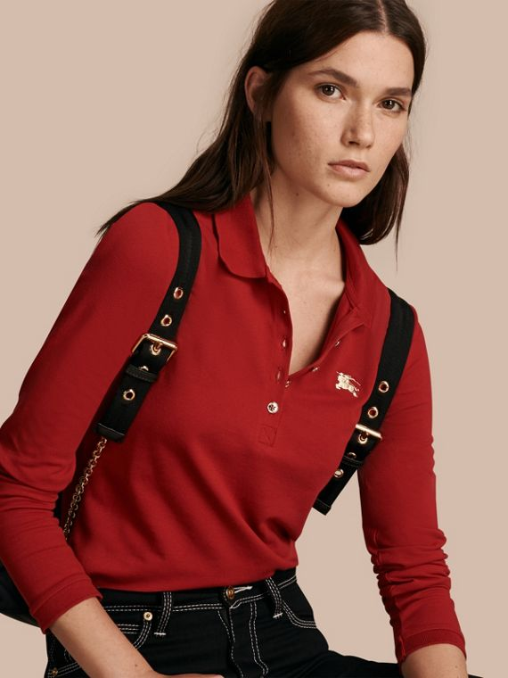 Long-sleeved Stretch Cotton Piqué Polo Shirt Military Red
