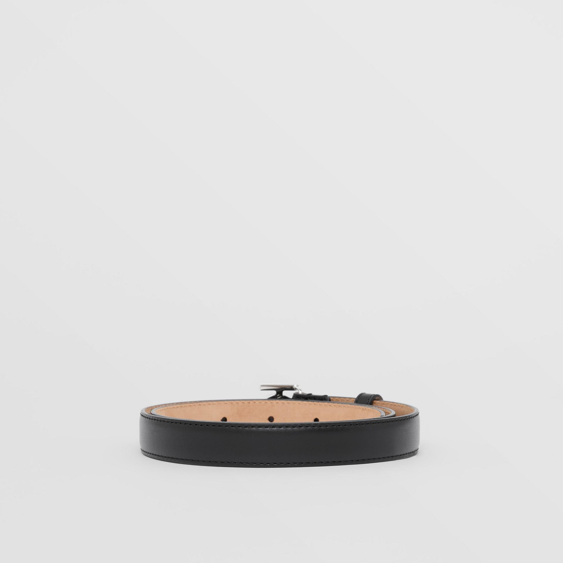Monogram Motif Leather Belt in Black/palladio - Women | Burberry Canada - gallery image 4