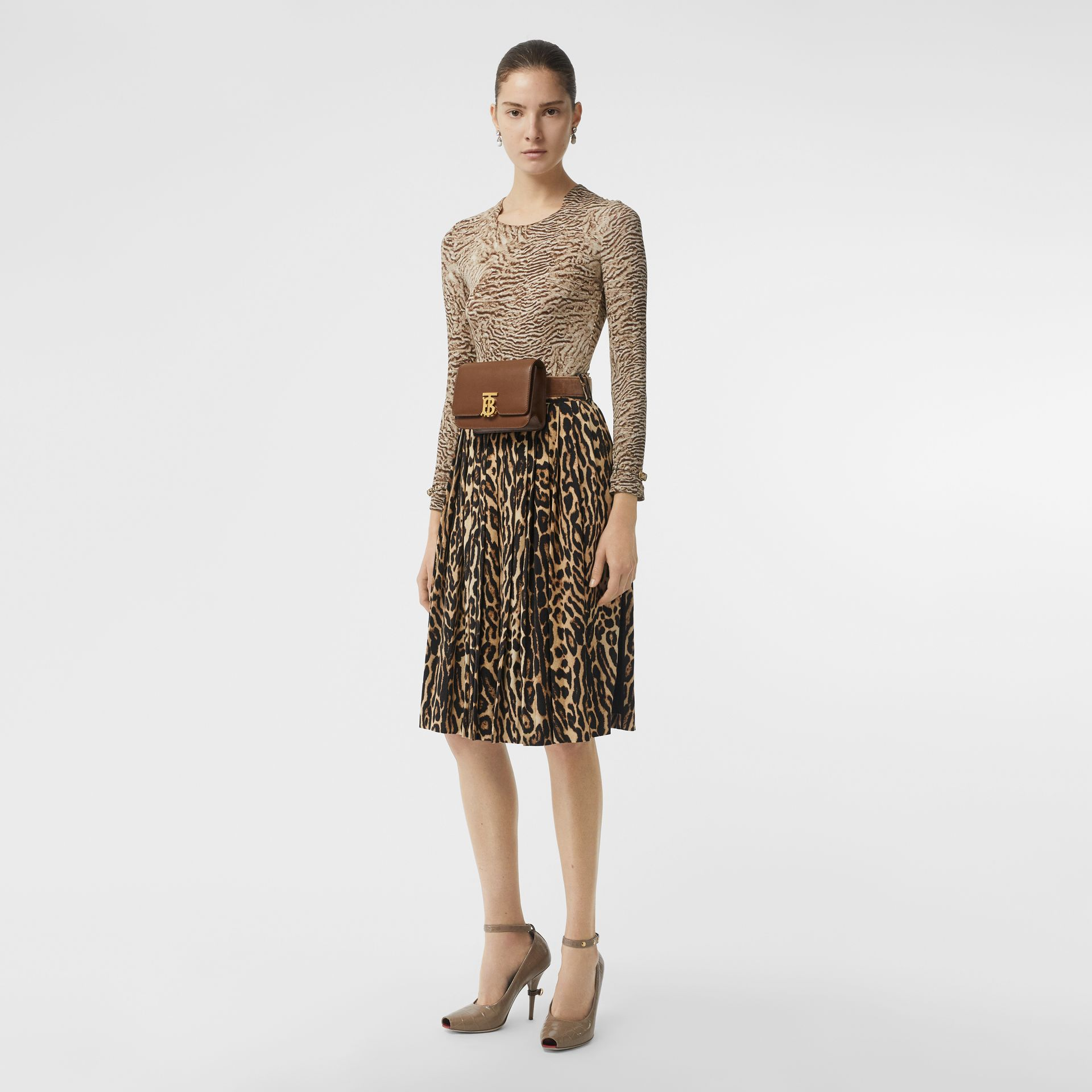 Leopard Print Stretch Silk Pleated Skirt in Camel - Women | Burberry - gallery image 0