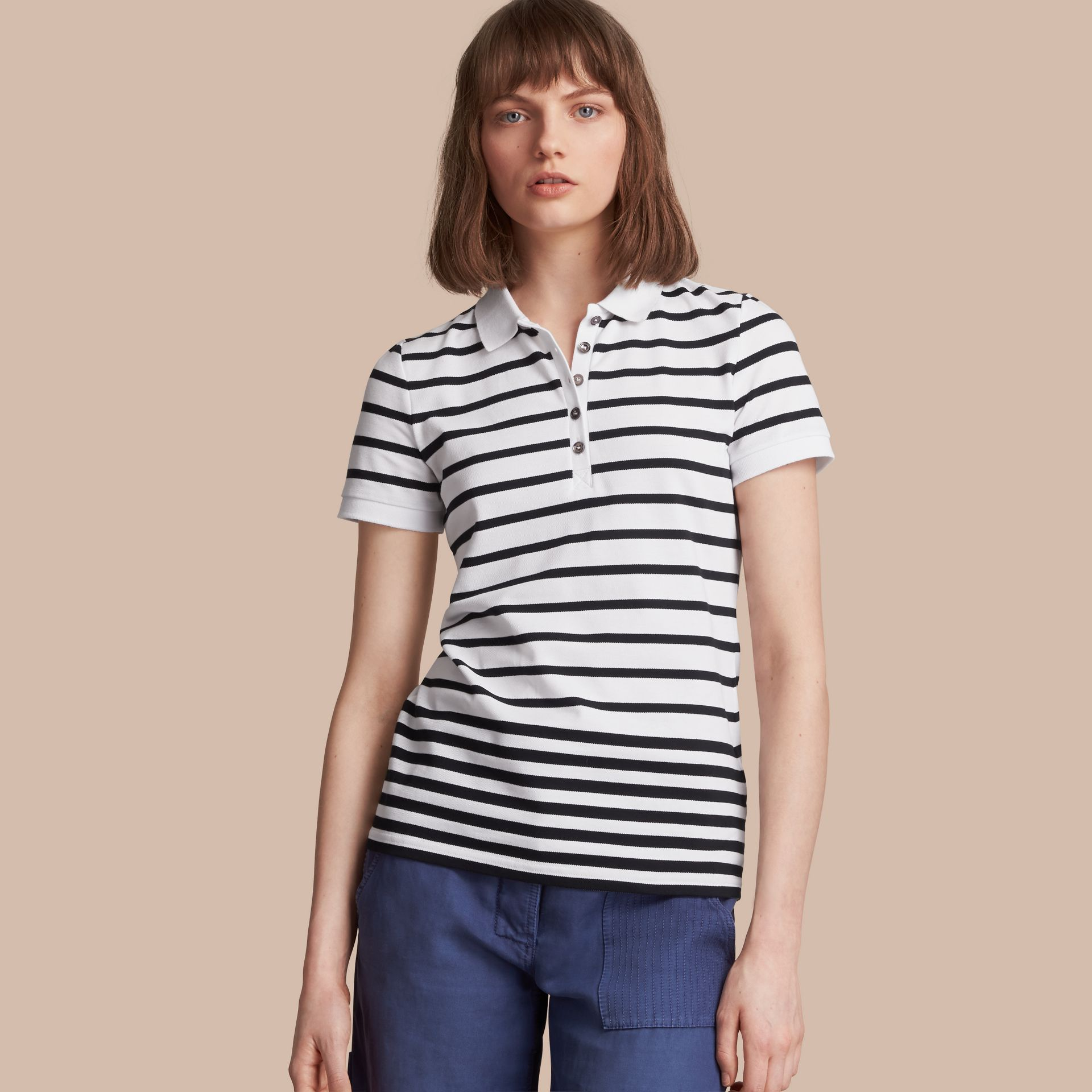 Striped Stretch Cotton Piqué Polo Shirt in White/navy - Women | Burberry - gallery image 1