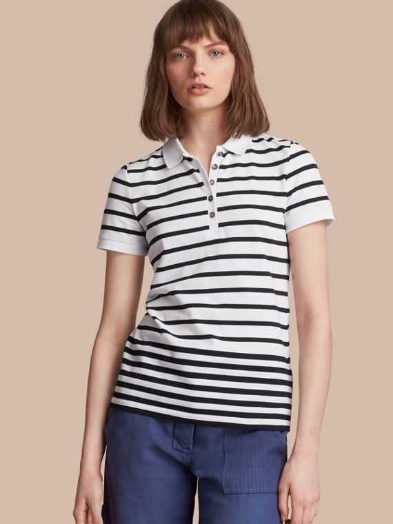 Striped Stretch Cotton Piqué Polo Shirt in White/navy