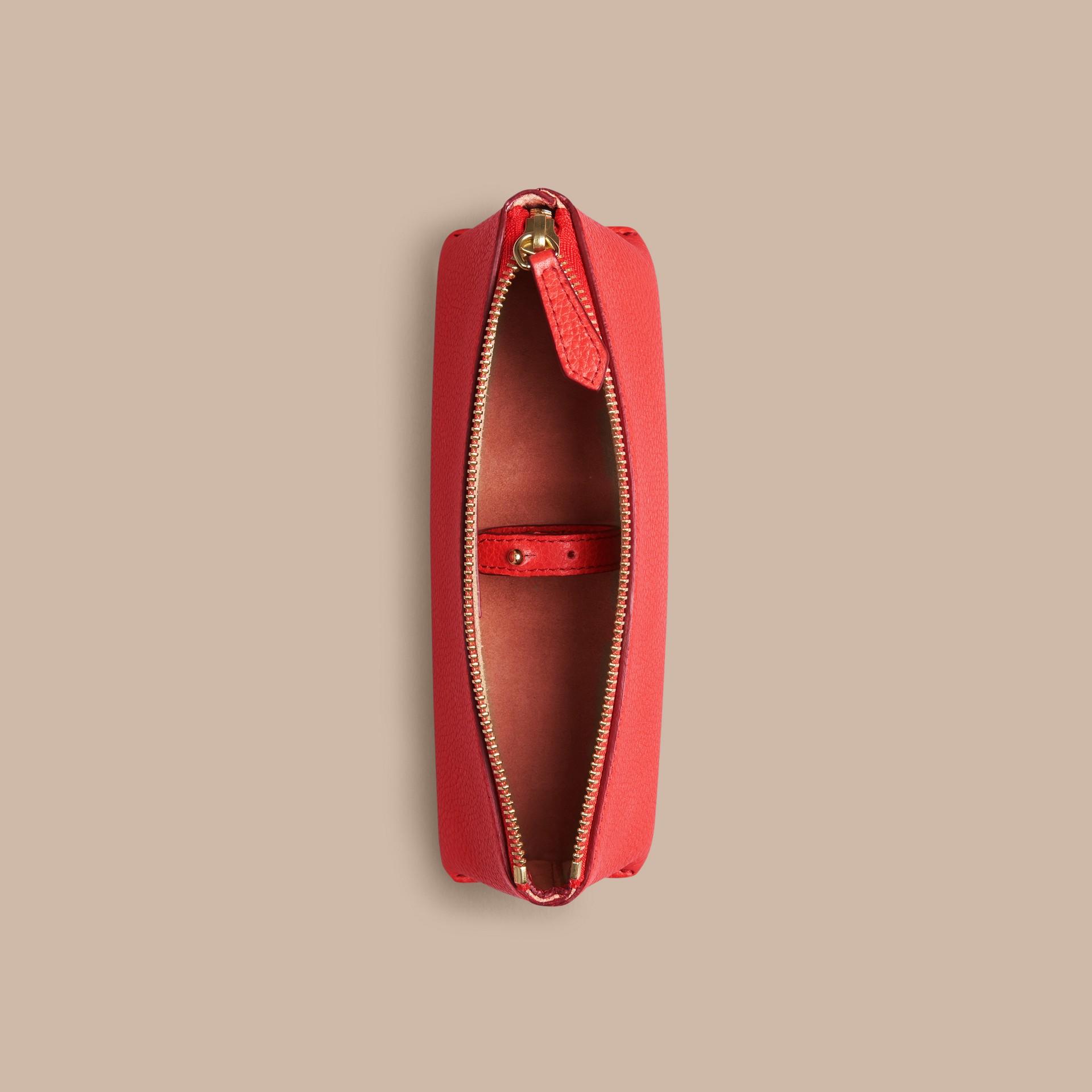 Rouge orangé Petite pochette pour accessoires numériques en cuir grainé Rouge Orangé - photo de la galerie 2
