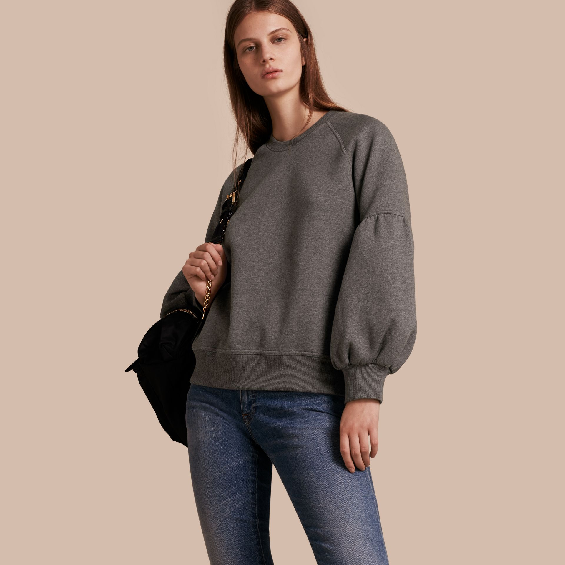Brushed-back Jersey Sweatshirt with Bell Sleeves Mid Grey Melange - gallery image 1