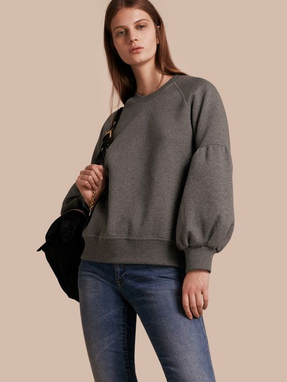 Brushed-back Jersey Sweatshirt with Bell Sleeves Mid Grey Melange