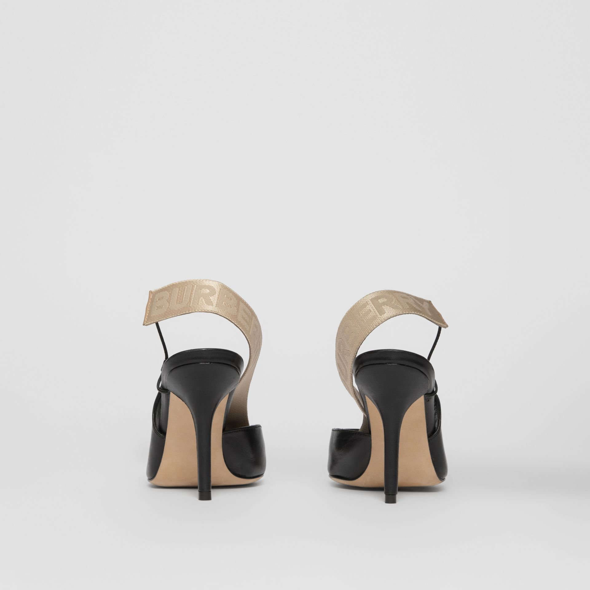Logo Detail Lambskin Slingback Pumps in Black - Women | Burberry - gallery image 3