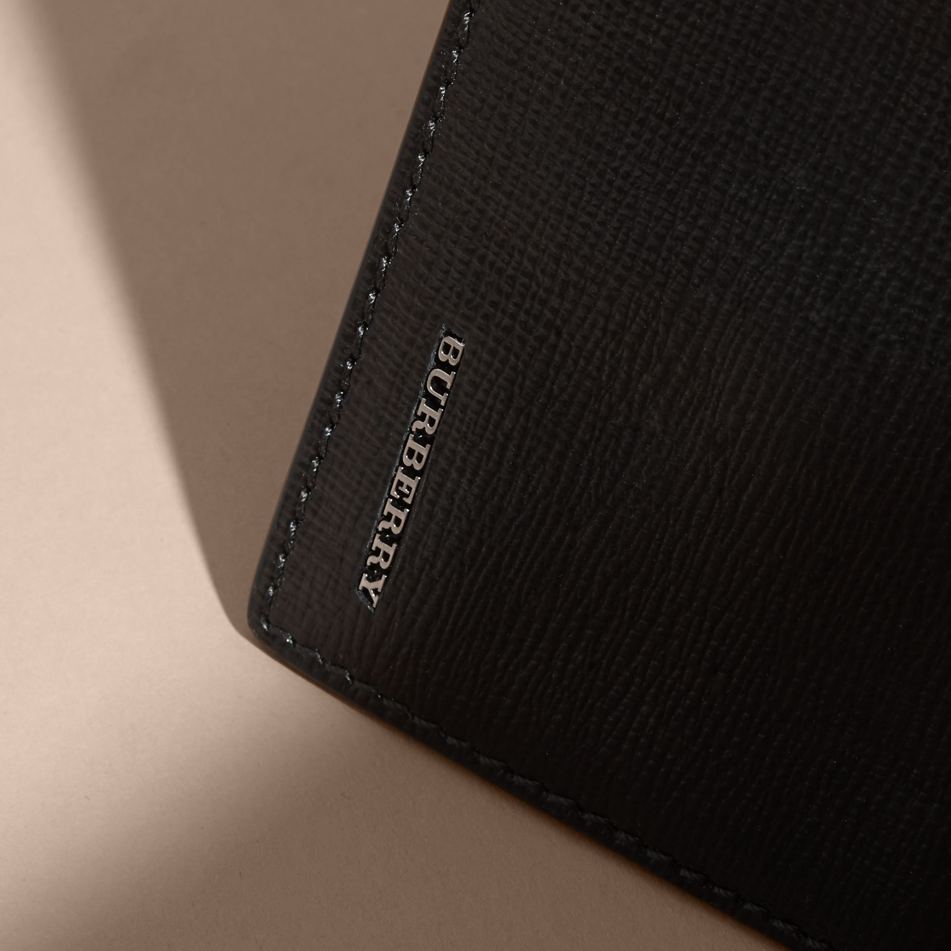 London Leather Bifold Wallet in Black | Burberry - gallery image 1