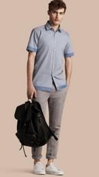 Short-sleeved Printed Cotton Silk Shirt