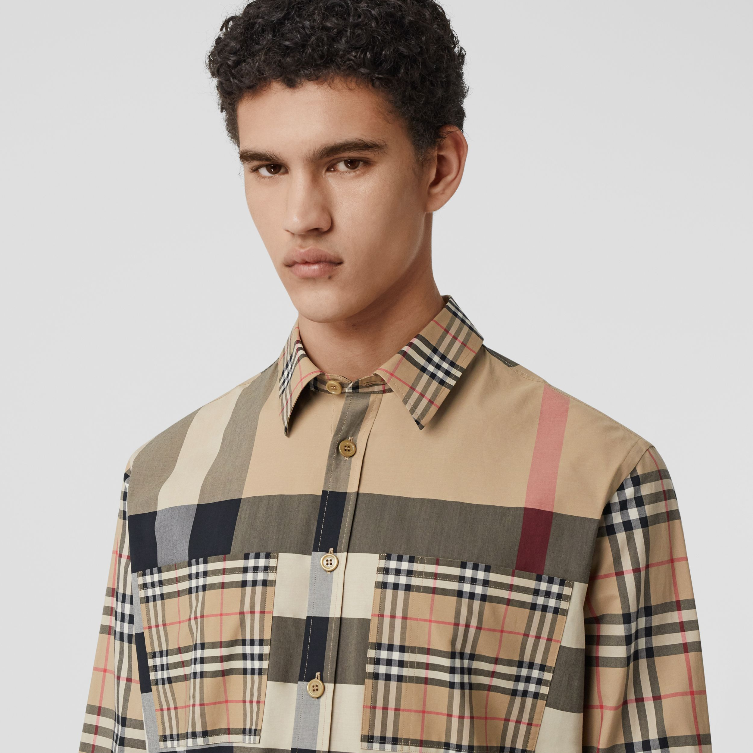 Patchwork Check Stretch Cotton Oversized Shirt in Archive Beige - Men | Burberry - 2