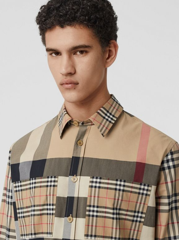 Patchwork Check Stretch Cotton Oversized Shirt in Archive Beige - Men | Burberry United Kingdom - cell image 1