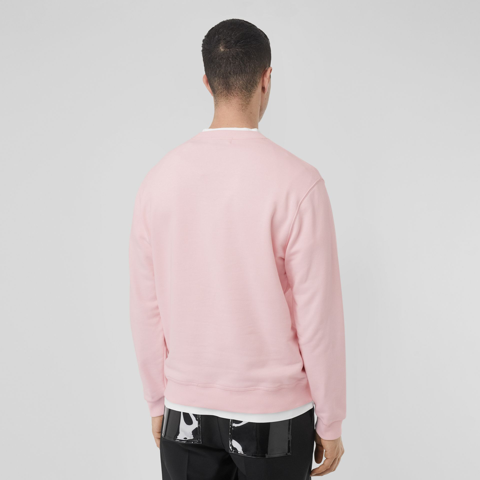 Logo Print Cotton Sweatshirt in Alabaster Pink - Men | Burberry - gallery image 2