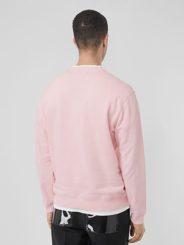 Logo Print Cotton Sweatshirt in Alabaster Pink - Men | Burberry - cell image 2