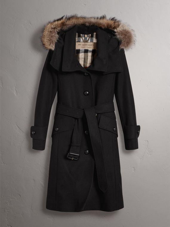 Hooded Wool Blend Coat with Detachable Fur Trim in Black - Women | Burberry United States - cell image 3