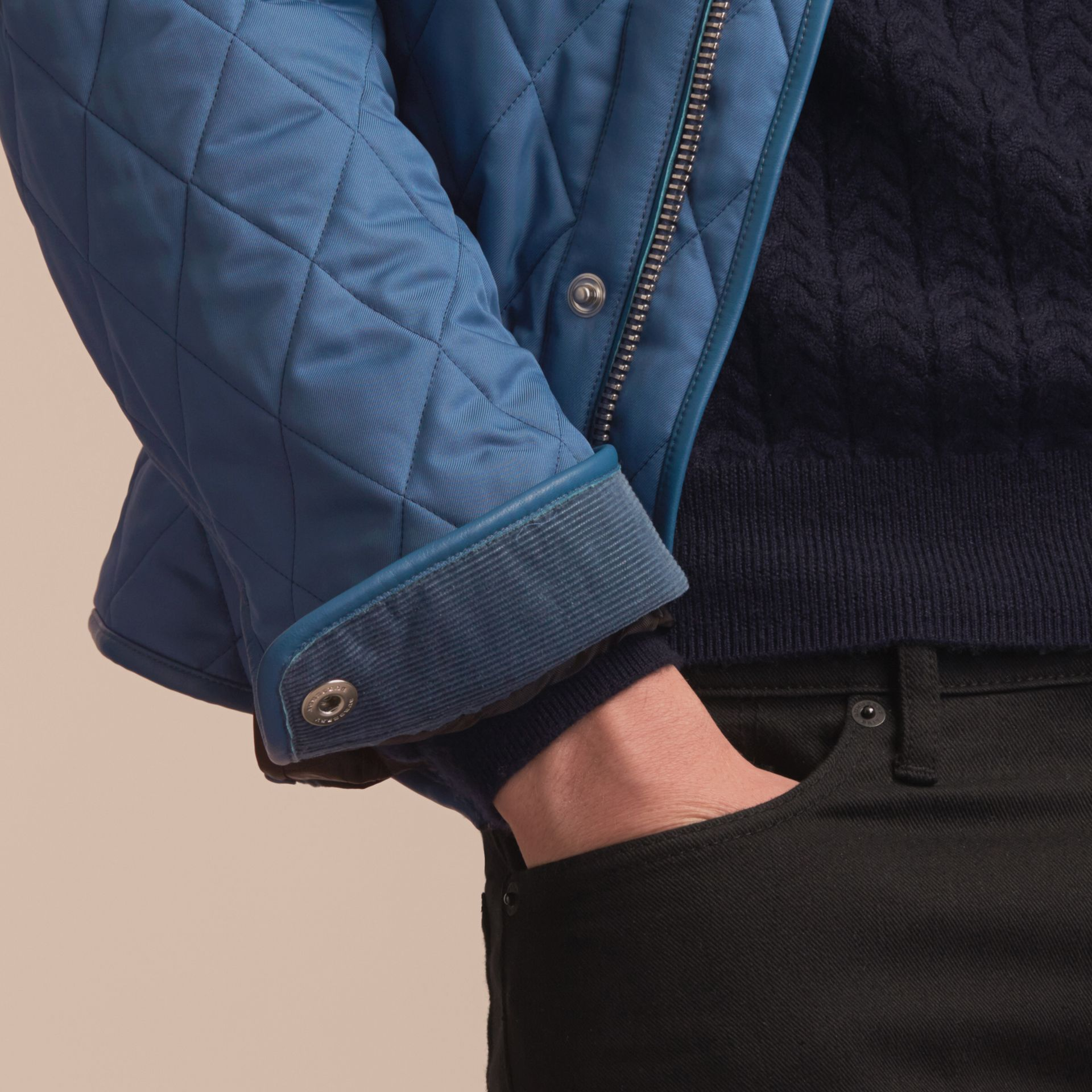 Diamond Quilted Jacket with Leather Trim - gallery image 6