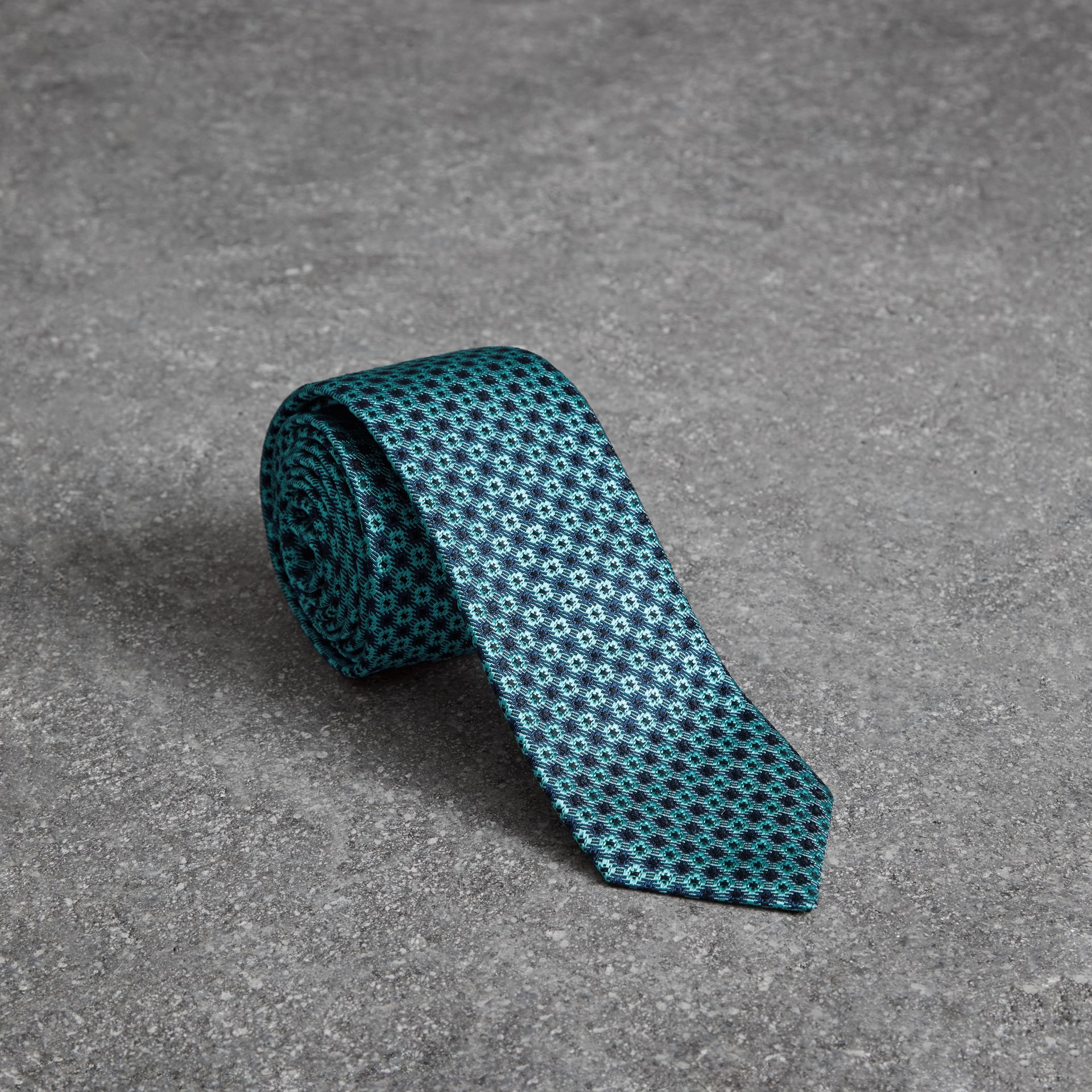 Slim Cut Daisy Silk Jacquard Tie in Turquoise - Men | Burberry United Kingdom - gallery image 0