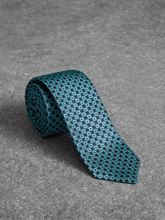 Slim Cut Daisy Silk Jacquard Tie in Turquoise