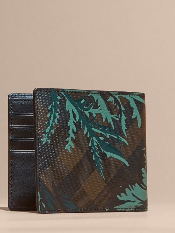Chocolate floral Floral Print London Check Folding Wallet Chocolate - cell image 2