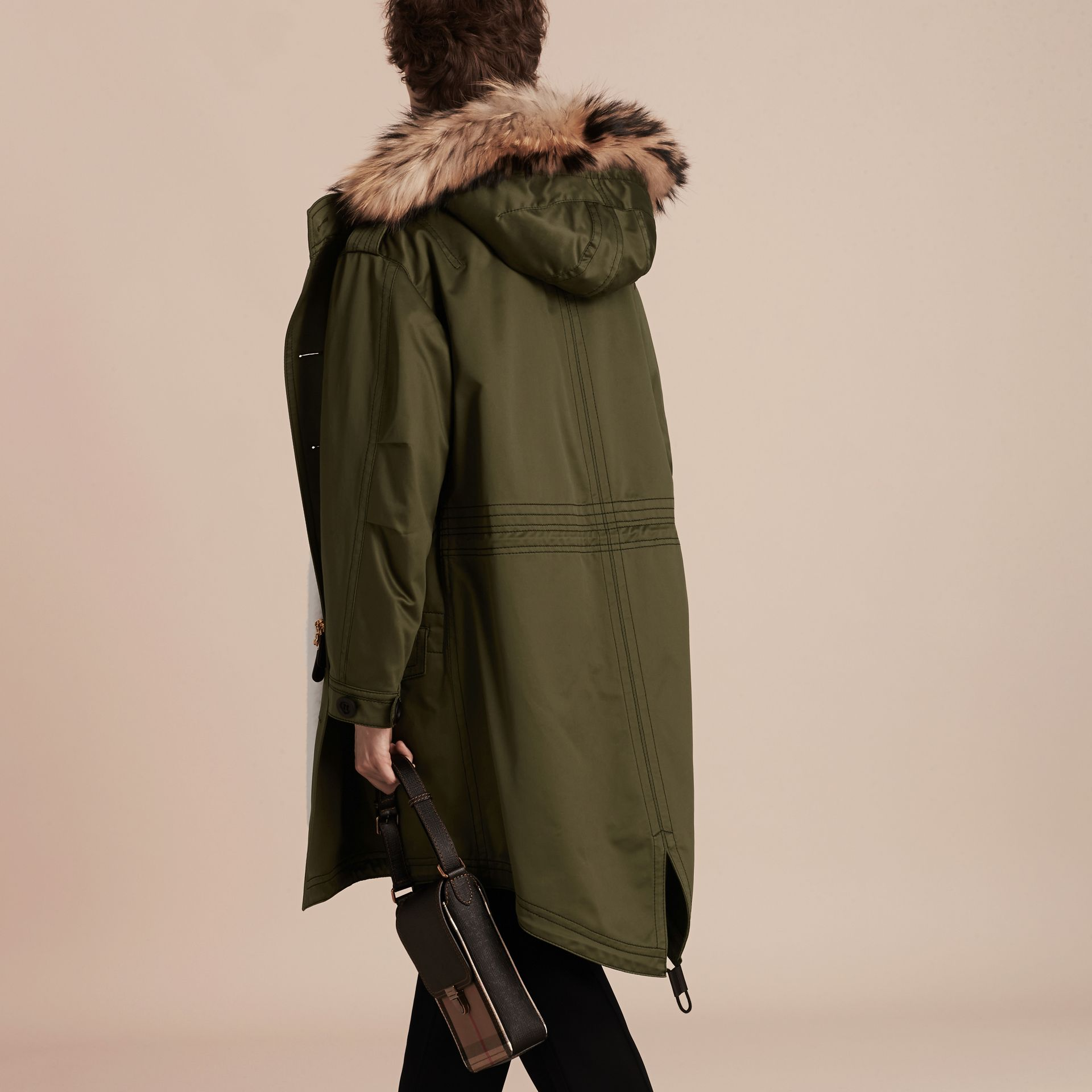 Military green Shearling Lined Cotton Canvas Parka - gallery image 3