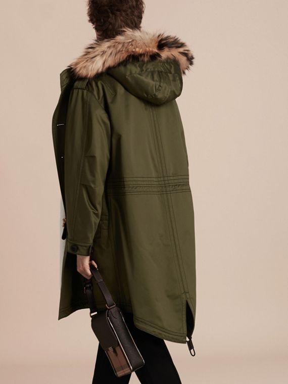 Military green Shearling Lined Cotton Canvas Parka - cell image 2