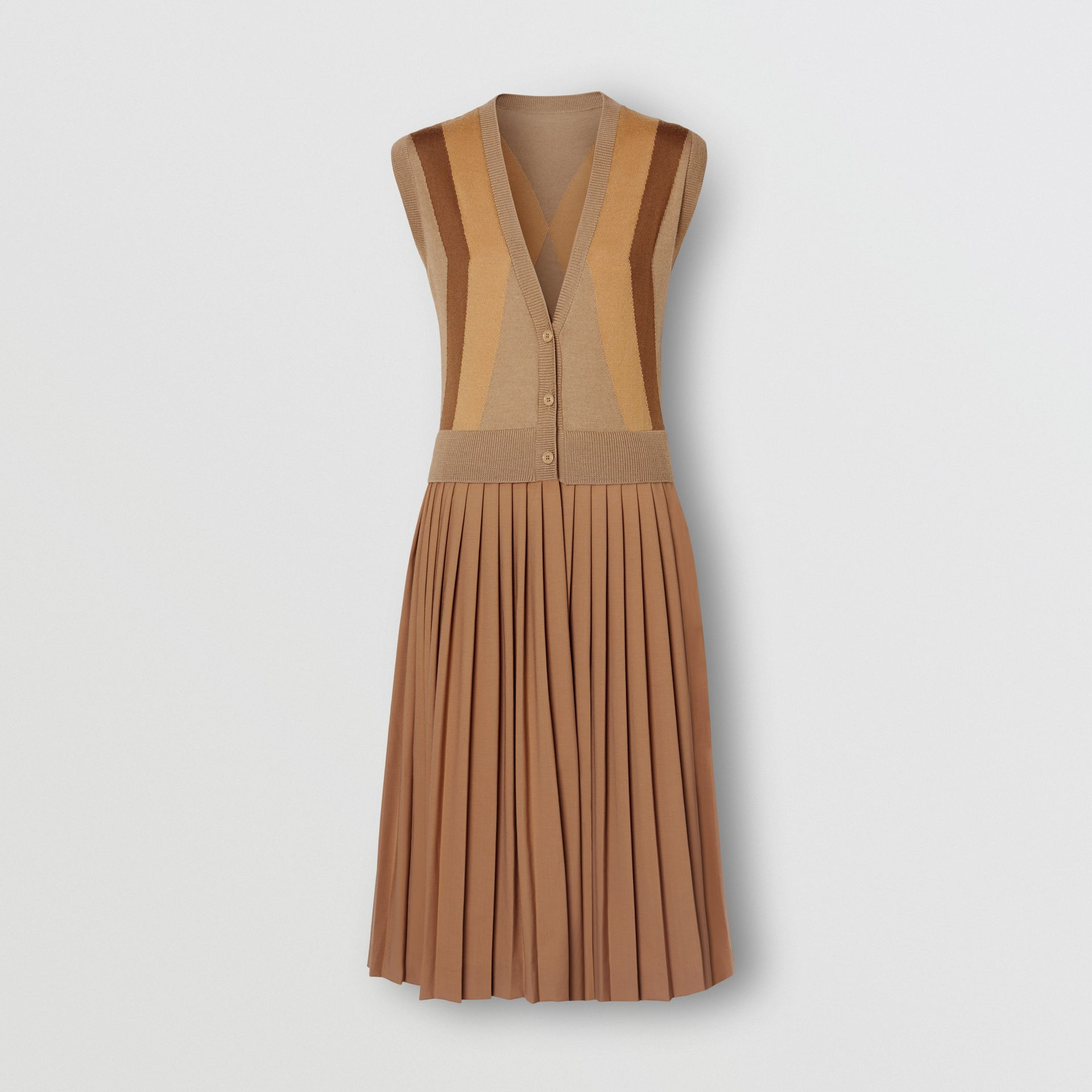 Sleeveless Knitted Wool V-neck Dress in Acorn - Women | Burberry - gallery image 3