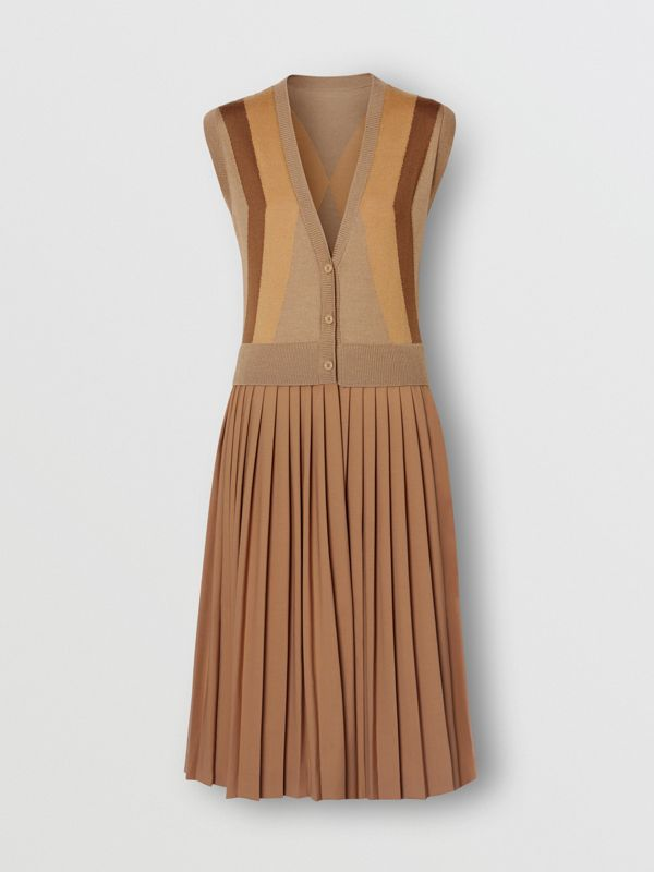 Sleeveless Knitted Wool V-neck Dress in Acorn - Women | Burberry - cell image 3