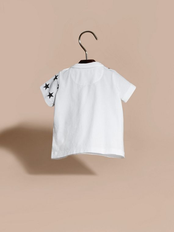 White Flocked and Embroidered I Say Graphic Cotton T-Shirt - cell image 3