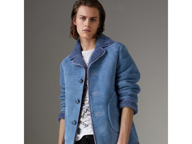 Leather Trim Shearling Jacket in Grey Blue - Men | Burberry Singapore - cell image 4